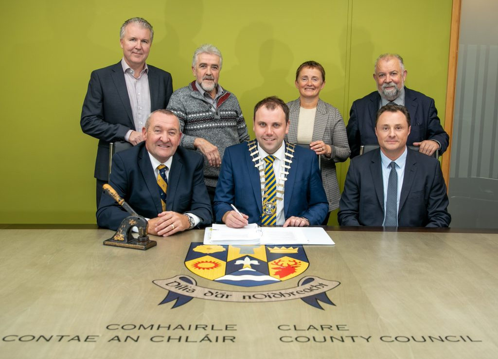 Image of Clare County Council representatives with Beren DeHora, Director of Infrastructure, at N19 Shannon Access Contract Signing meeting held October 2019.